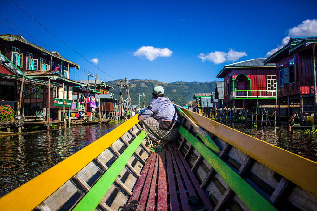 Mine Thauk - Approaching the floating village in Inle Lake, Myanmar