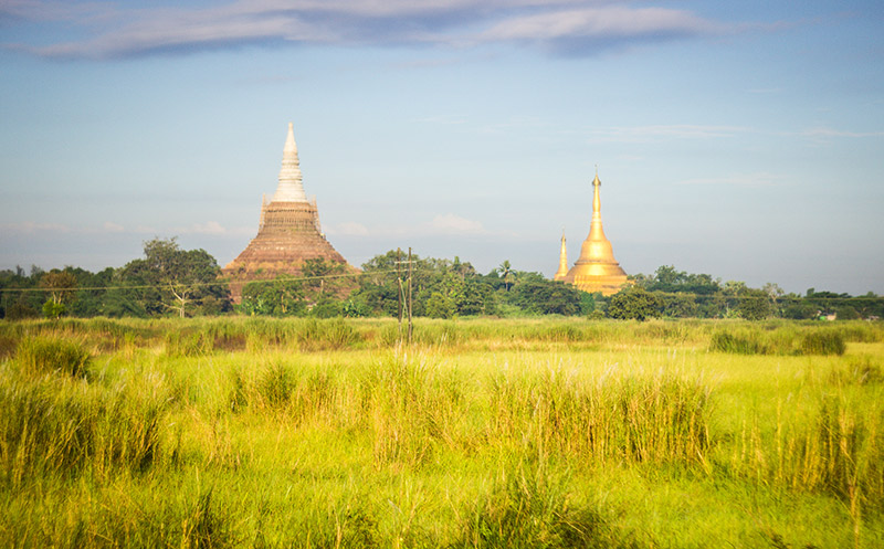 Myanmar Pagodas, a view from our train