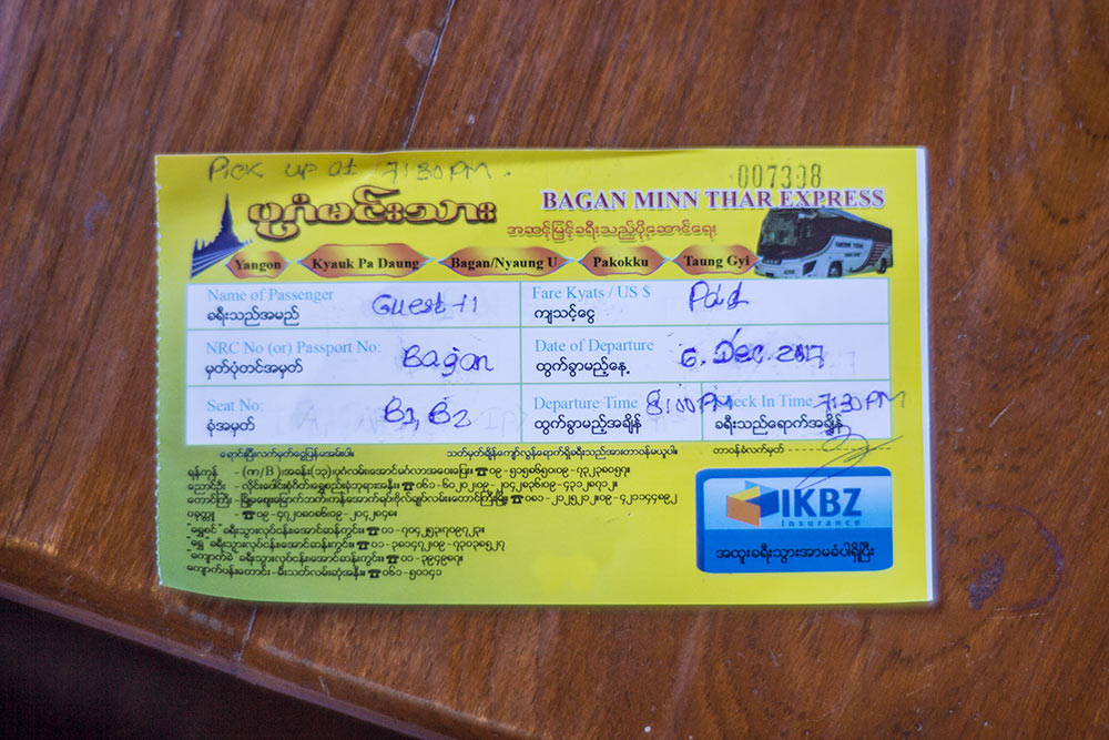Inle to Bagan Bus Ticket